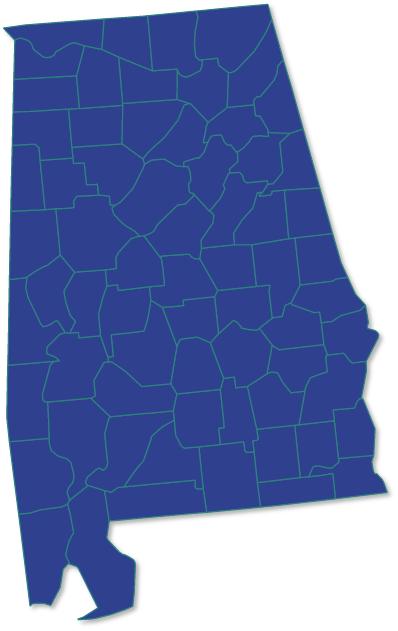 Alabama county map | AIA Territory